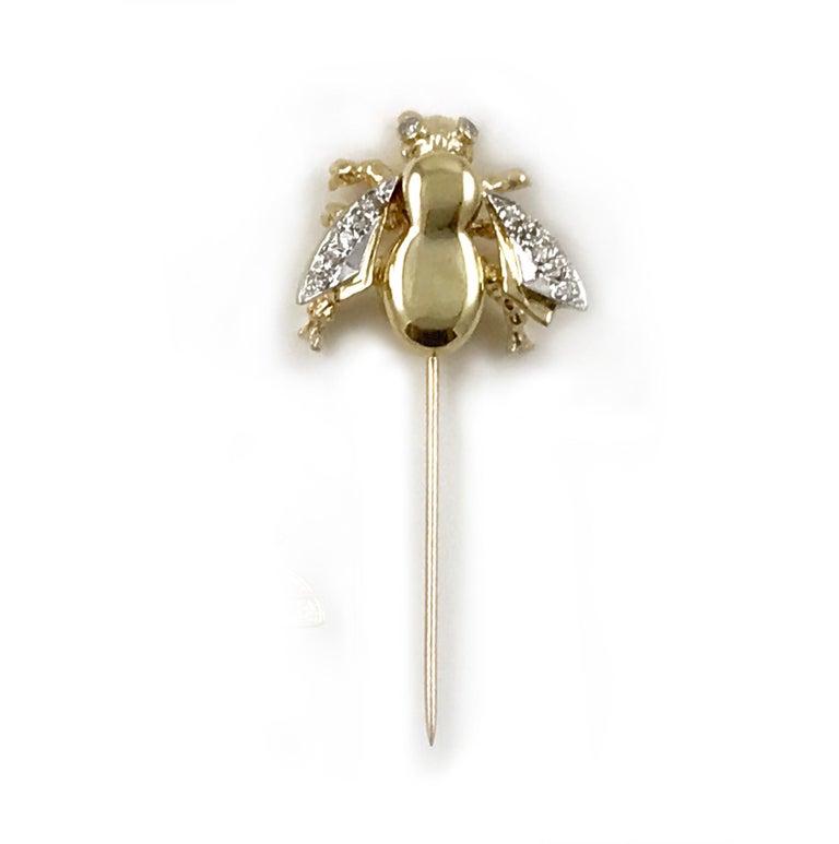 Vintage Two-Tone Gold Diamond Honey Bee Stick Pin, 0 22 Carat