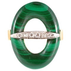 Vintage Two-Tone Malachite Diamond Bar Ring