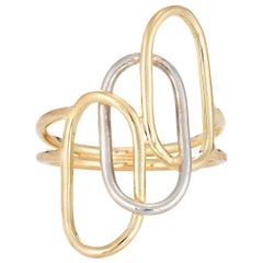 Vintage Two-Tone Ring 18 Karat Yellow Gold Paperclip Oval Circles Design Estate