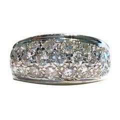 Vintage Two-Tone White and Yellow Gold Diamond Pavé Ring