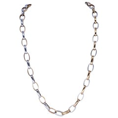 Vintage Two-Tons Rose Gold and White Gold Rolo Link Necklace 18 Karat Gold