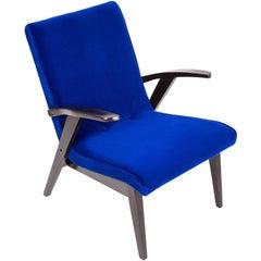 Vintage Ultramarine Blue Armchair, Mieczyslaw Puchala, 1960s