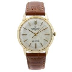 Vintage Ulysse Nardin 14k Yellow Gold Saddle Leather Automatic Mens Watch
