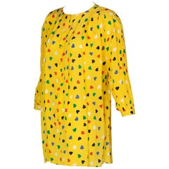 Vintage Ungaro Yellow heart print Tunic Blouse