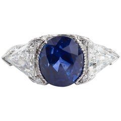 Vintage Unheated Sapphire Trillion Diamond Engagement Ring 6.26 Carat