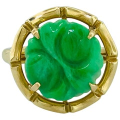 Vintage, Jade Hand Carved Jadeite Jade Ring in 14 Karat Yellow Gold