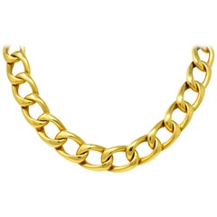 Vintage Unisex 18 Karat Gold 18 Inch Curb Link Necklace