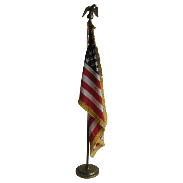 Vintage United States Military Desk 50 Star American Silk Flag on Brass Flagpole For Sale