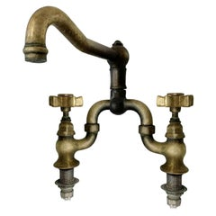 Vintage Unlaquered Brass Italian Country Bridge Faucet by Rohl, Living Finish