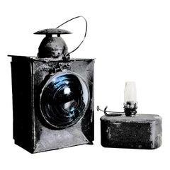 Vintage Unsigned Dietz or Piper Styled Railroad Kerosene Signal Lantern & Burner