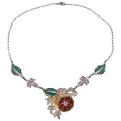 Vintage Unsigned Enamel Flower Necklace With Rhinestones 1940's