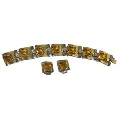 Vintage Unsigned Mazer Citrine & Clear Crystal Bracelet & Earring Set