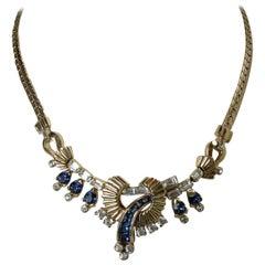 Vintage Unsigned Mazer Crystals Centerpiece Necklace