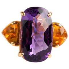 Vintage and Unusual, Rose Cut Amethyst and Citrine Dress Watch, 18K Yellow Gold.