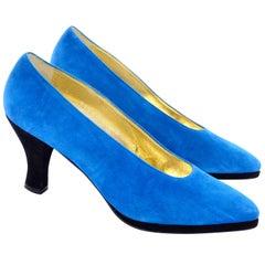 Vintage Unworn New Escada Blue Suede Shoes WIth Black Heels Size 7B