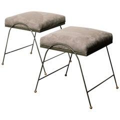 Vintage Upholstered Iron Stools