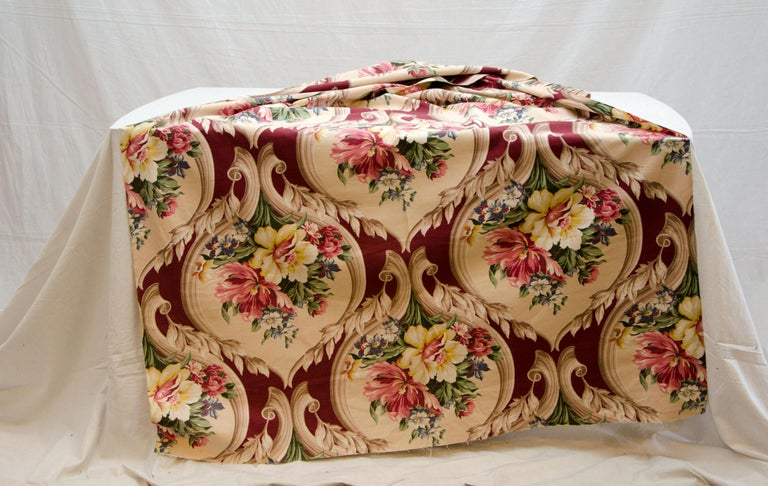 American Vintage Upholstery or Drapery Fabric, Floral Pattern 10 Yards For Sale