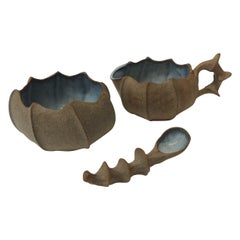Vintage Urchin Shaped Glazed Pottery Sugar and Creamer Set
