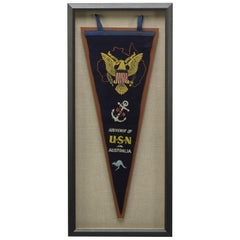 Vintage US Navy in Australia Military Pennant, circa WWII