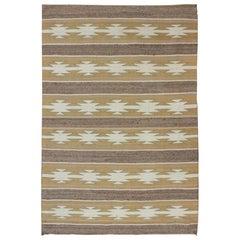 Vintage USA Navajo Flat-Weave in Earthy Tones