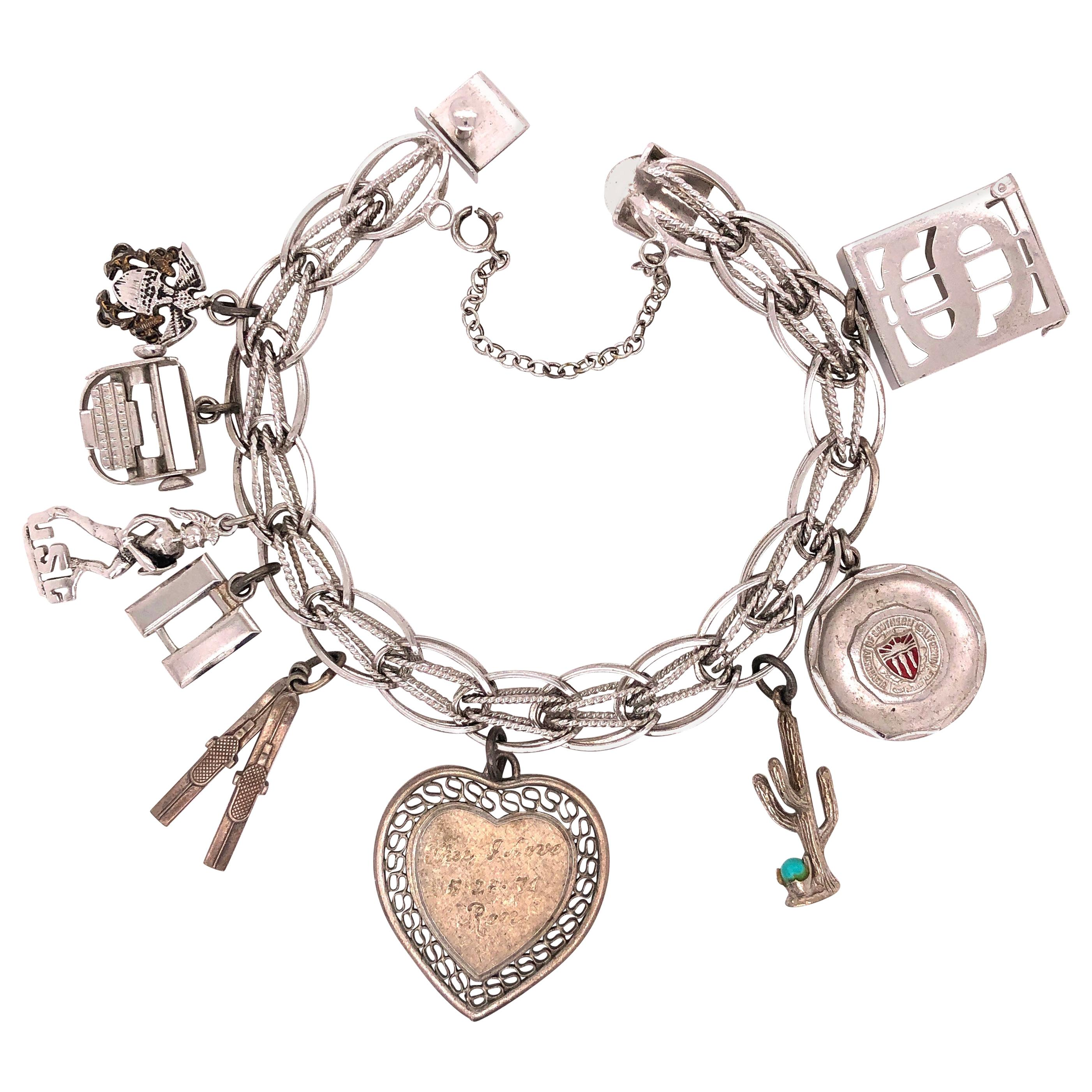 Love Birds on a Ring Mechanical Sterling Silver Vintage Charm For Bracelet