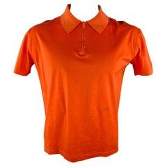 Vintage V2 by VERSACE Size L Orange Cotton Half Zip Polo