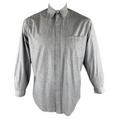 Vintage V2 by VERSACE Size M Gray Cotton Button Up Patch Pocket Shirt