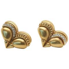 Vintage Vahe Naltchayan 1989 Heart Clip-On 18 Karat Diamond Earrings