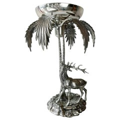 Vintage Valenti Silver Plated Stag and Palm Centre Piece