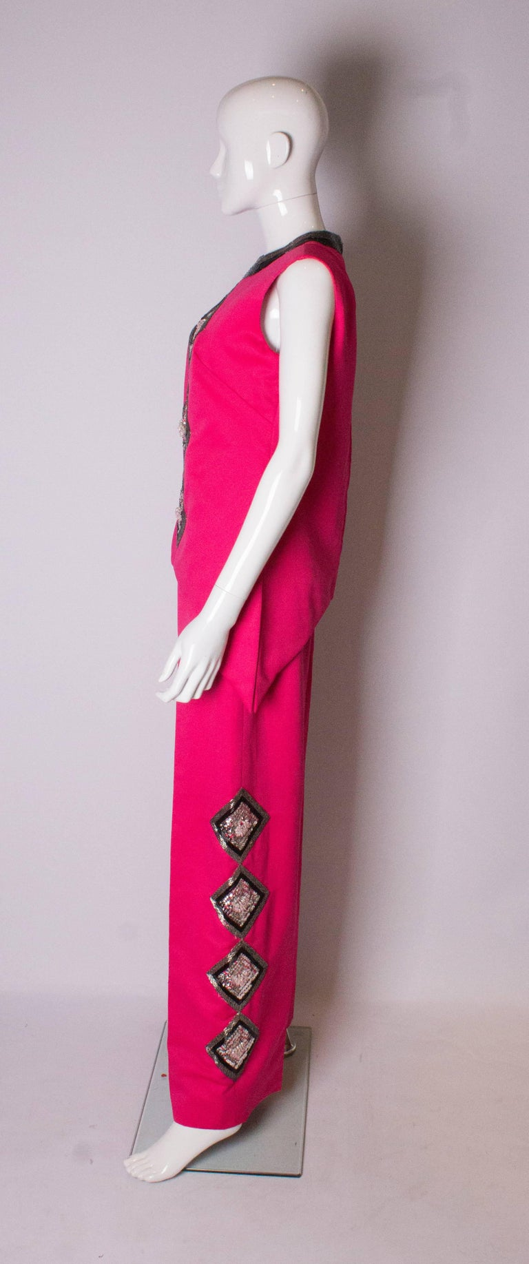 Vintage Valentina Pink Trouser/ Pant Suit In Good Condition For Sale In London, GB