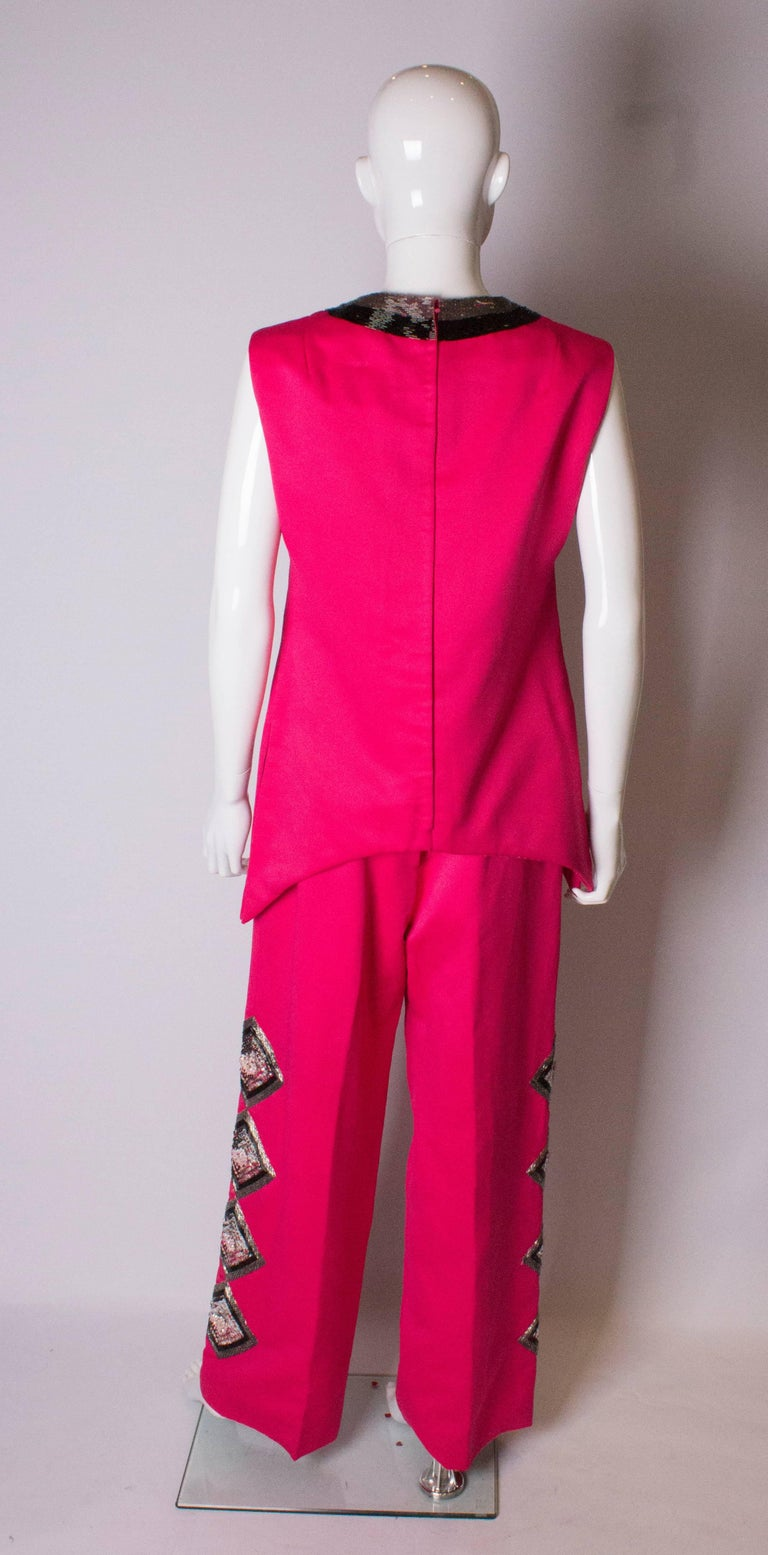 Women's or Men's Vintage Valentina Pink Trouser/ Pant Suit For Sale