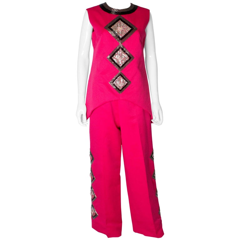 Vintage Valentina Pink Trouser/ Pant Suit For Sale