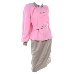 Vintage Valentino 1984 F/W Runway Pink & Camel Swing Top & Skirt Suit