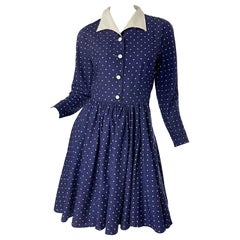 Vintage Valentino 1990s Does 1940s Size 6 navy Blue White Polka Dot 90s Dress