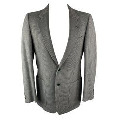 Vintage VALENTINO 38 Regular Taupe Grey Nailhead Wool / Cashmere Notch Lapel Pat
