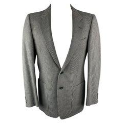 Vintage VALENTINO 38 Regular Taupe Grey Nailhead Wool / Cashmere Notch Lapel Pat