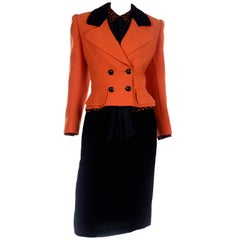 Vintage Valentino 3pc Orange Jacket Black Velvet Skirt & Silk Bow Blouse Suit