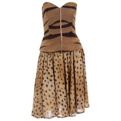 Vintage Valentino Animal Print Bustier and Silk Chiffon Skirt 2 Piece Dress