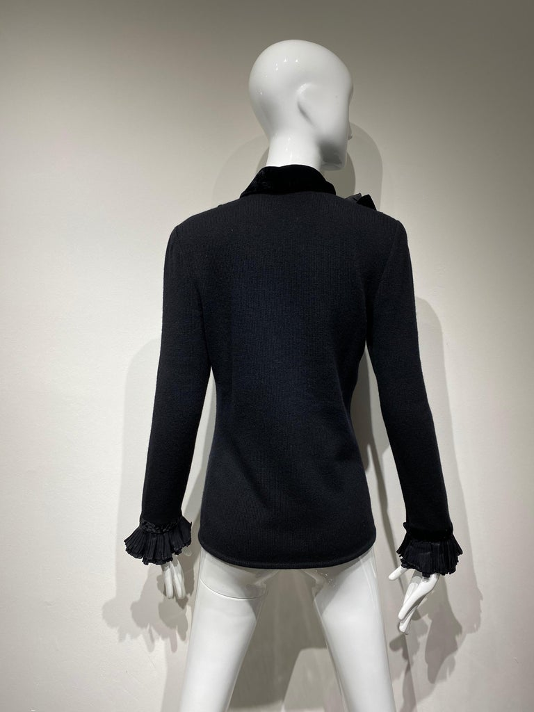 Vintage Valentino Black Cashmere Sweater with Bow For Sale 1