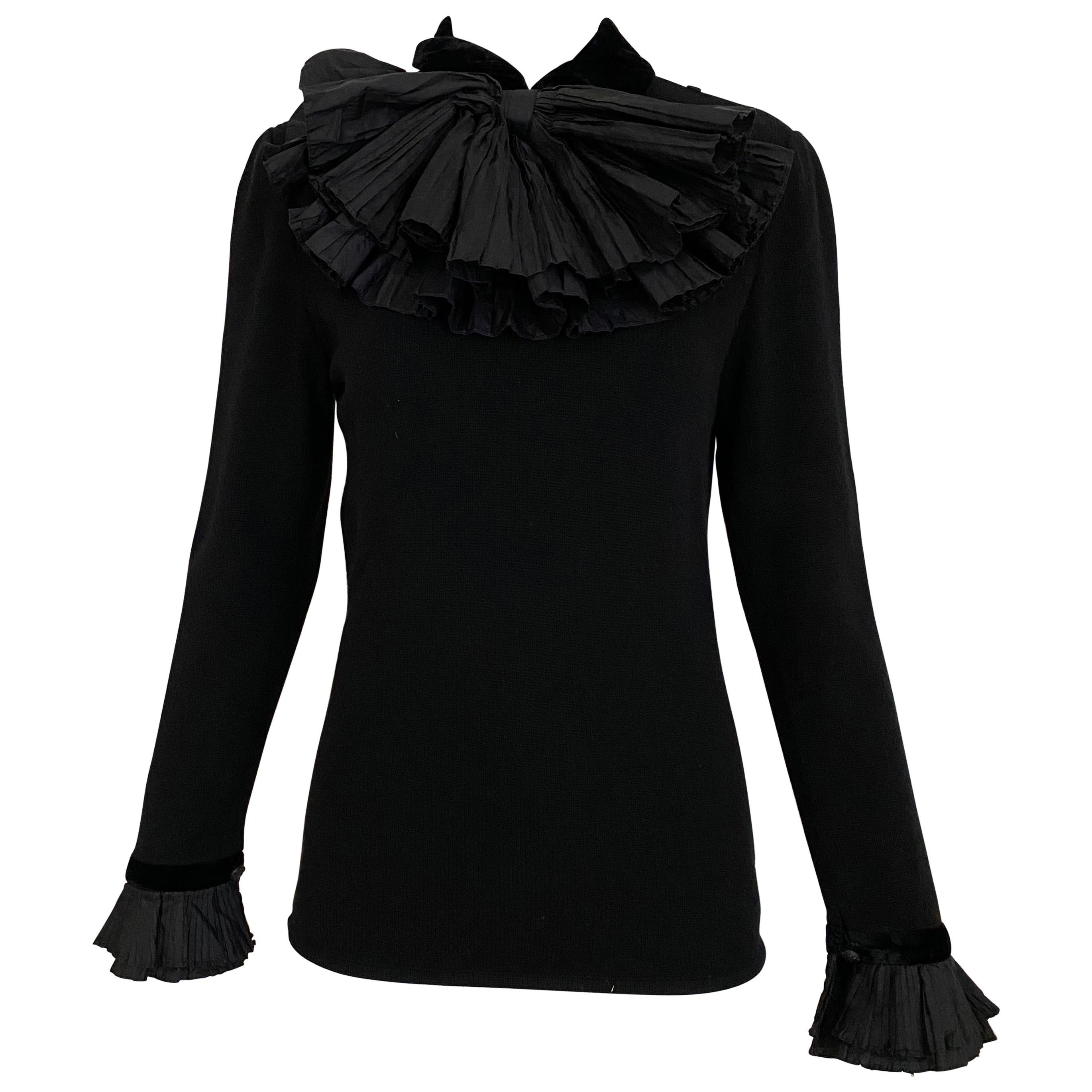 Vintage Valentino Black Cashmere Sweater with Bow