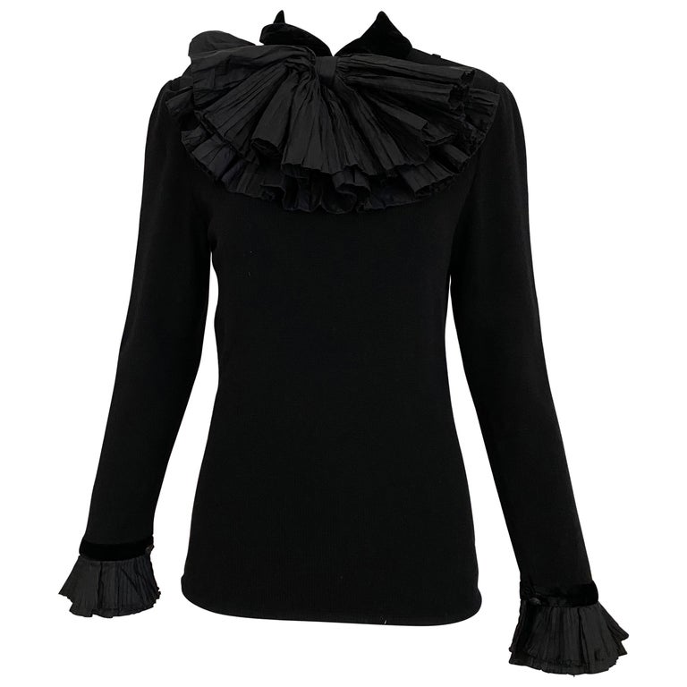 Vintage Valentino Black Cashmere Sweater with Bow For Sale