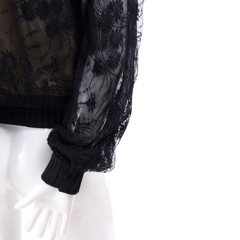 Women's Vintage Valentino Black Lace Over Nude Silk Blouse For Sale