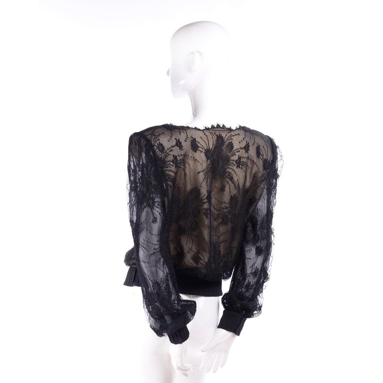 Vintage Valentino Black Lace Over Nude Silk Blouse For Sale 1