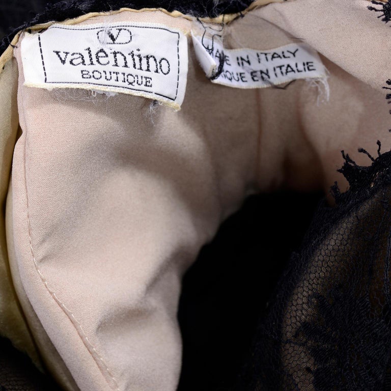 Vintage Valentino Black Lace Over Nude Silk Blouse For Sale 3