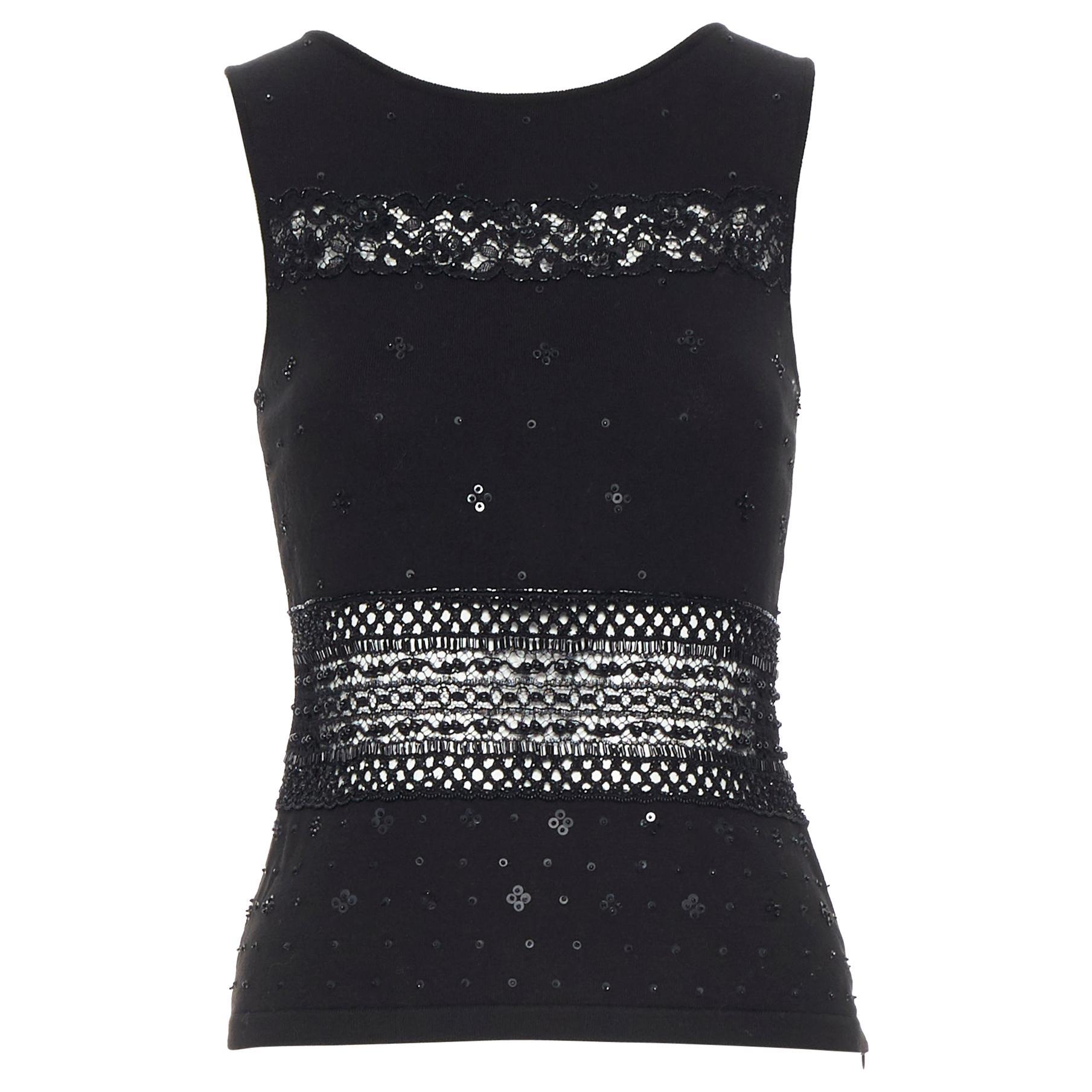 vintage VALENTINO black sequins embellished crochet detail sleeveless top S