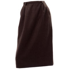 Vintage Valentino Boutique Brown Wool Skirt With Pockets.