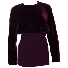 Vintage Valentino Boutique Burgundy Velvet Top