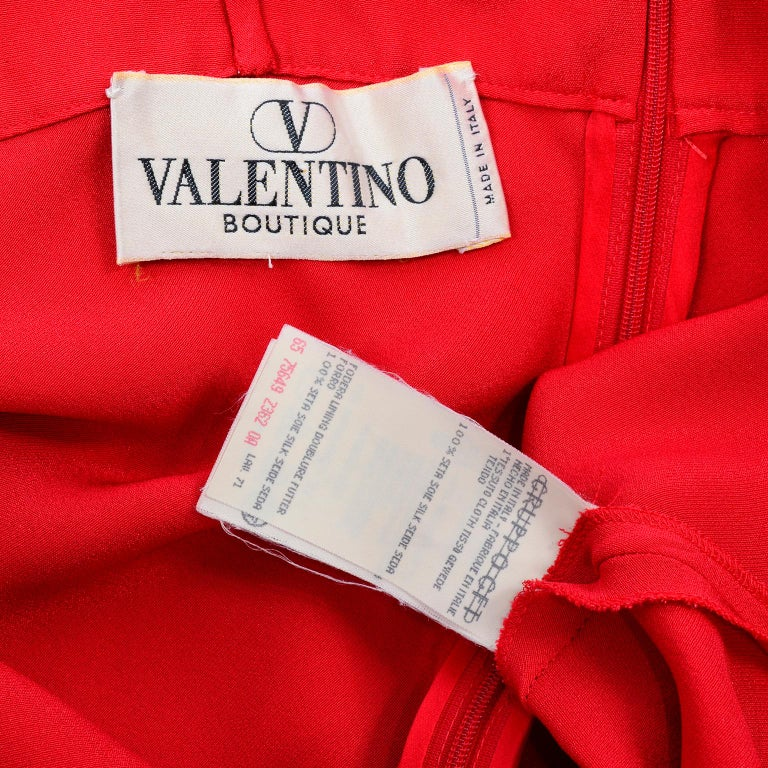 Vintage Valentino Boutique Silk Red Evening Bias Cut Long Slip Dress With Train For Sale 6
