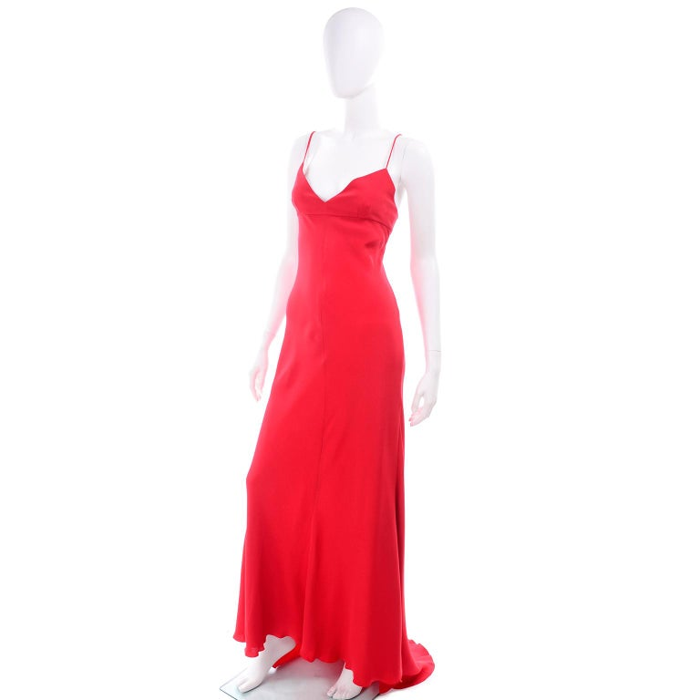 Vintage Valentino Boutique Silk Red Evening Bias Cut Long Slip Dress With Train In Excellent Condition For Sale In Portland, OR