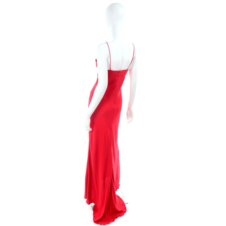 Women's Vintage Valentino Boutique Silk Red Evening Bias Cut Long Slip Dress With Train For Sale